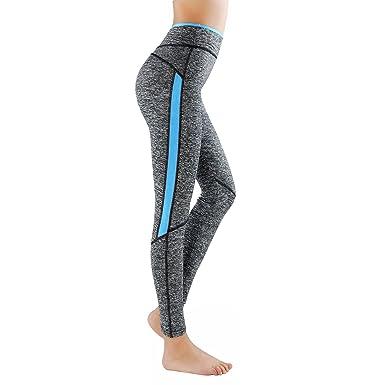 détaillant en ligne cac69 dcdca GoVIA Legging pour femme Pantalon de course à pied Pantalon de sport  respirant Pantalon de Yoga Fitness Taille haute Long Rayures 4113
