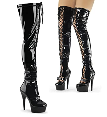 Pleaser Flamingo-2000 Knee High Platform boot(Women's) -Black Stretch Patent/Black Discount Real FkwmaS