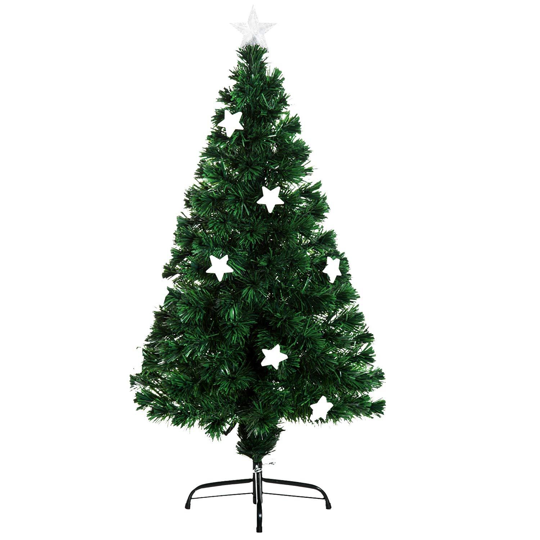 4ft Xmas Tree with Star Pre-Lit LED Optical Fiber Christmas Tree Artificial Seasonal Decoration w/Stand Winter Holiday Decor Green Aosom Canada