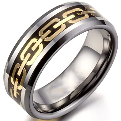 8mm Gold Chain Link Tungsten Carbide Wedding Bands Promise Rings