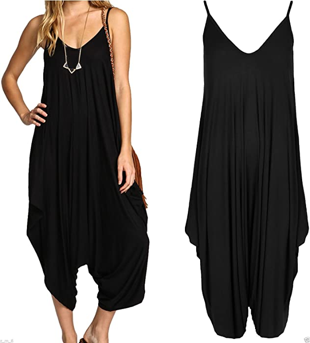 WOMENS LADIES V NECK ALL IN ONE BEACH SUMMER CAMI HAREM JUMPSUIT ROMPER PLAYSUIT