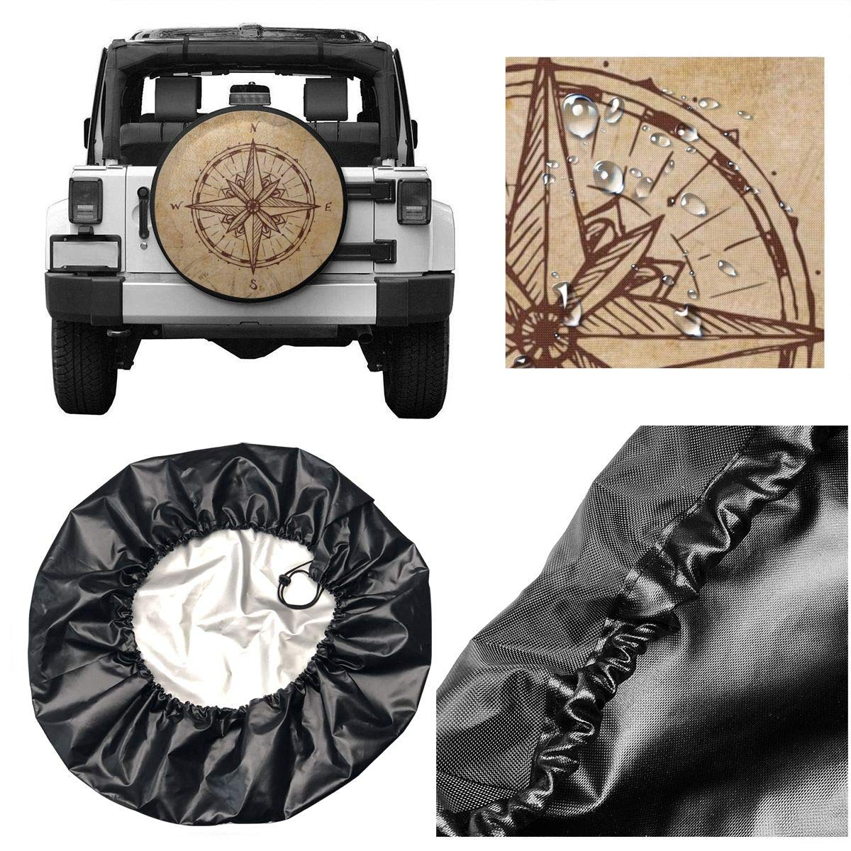 Ouqiuwa Spare Tire Cover Compass Vintage Universal Wheel Covers for Jeep Trailer RV SUV 15 Inch for Diameter 27-29 Inch