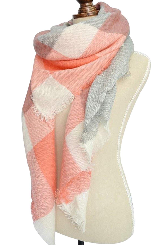 Women's Winter Soft Plaid Tartan Checked Scarf Large Blanket Wrap Shawl  Orange-white 140 by 140cm