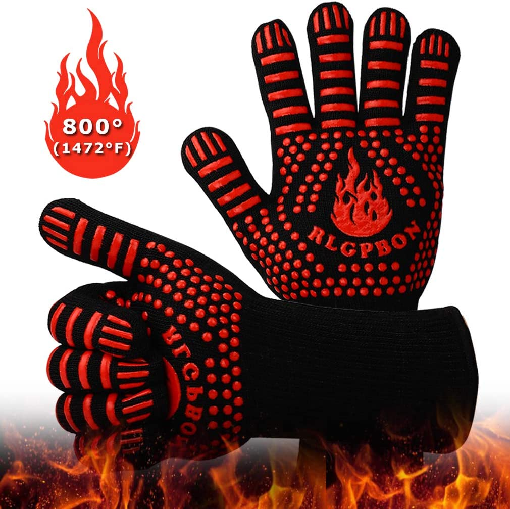 RLGPBON BBQ Gloves 1472℉ Extreme Heat Resistant Gloves Grills, Cooking Gardening Oven Mitts, Oven Gloves, Silicone Insulated Grills Outdoor Cooking, Long Non-Slip Potholder Gloves