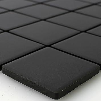 Keramik Mosaik Fliesen Schwarz Uni Rutschhemmend Unglasiert Amazon - Mosaik fliesen schwarz matt