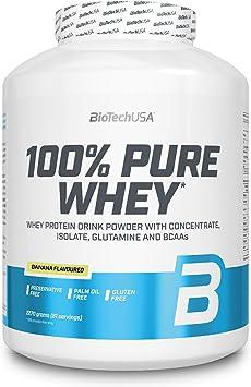 BioTechUSA 100% Pure Whey Complejo de proteína de suero, con aminoácidos añadidos y edulcorantes, sin conservantes, 2.27 kg, Plátano