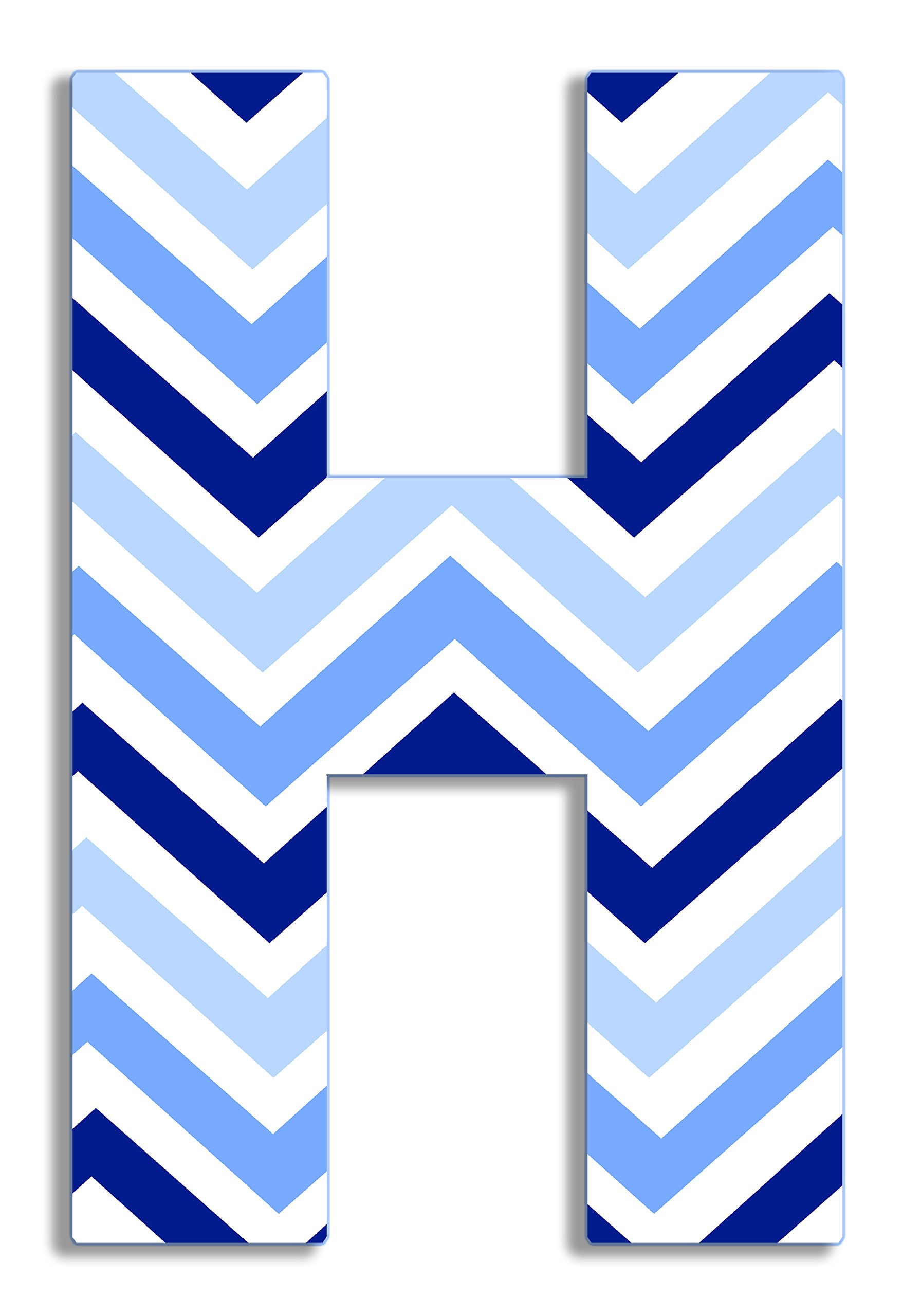Stupell Home Décor Tri-Blue Chevron 18 Inch Hanging Wooden H Initial, 12 x 0.5 x 18, Proudly Made in USA by The Kids Room by Stupell