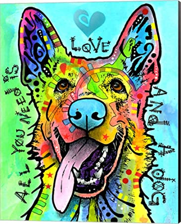 Love And A Dog by Dean Russo Canvas Art Wall Picture, Museum Wrapped with Black Sides, 16 x 20 inches
