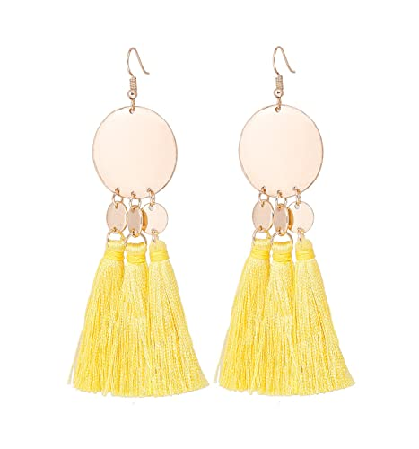 bf2e45aab8a1e0 HSWE Handmade Tassel Earring for Women Multistrand Threaded Fringe Dangle  Earrings Round Disc Metal Pendant Earrings