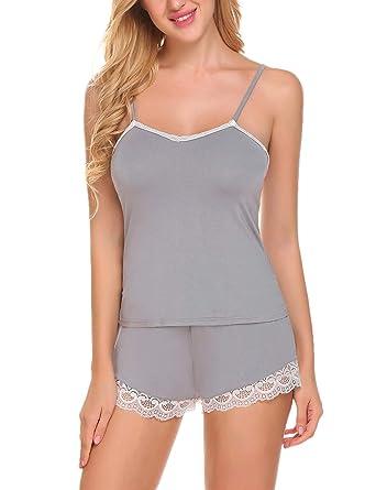 c5c59ad1e7 Ekouaer Womens Cami Pajama Set Sexy Lace Lingerie Short Pajamas Sleepwear  (7142 Grey