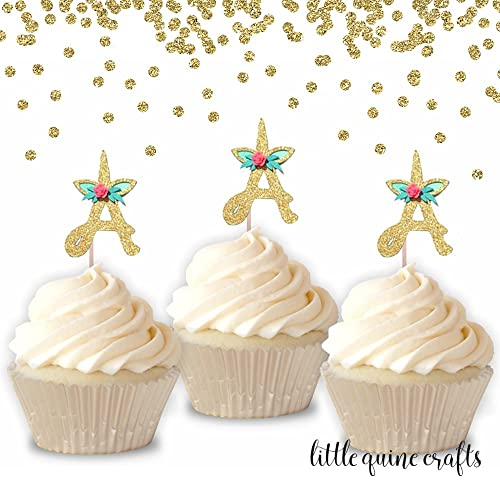 10 pc choose alphabet letter flowers unicorn horn ear gold glitter cupcake topper for birthday baby