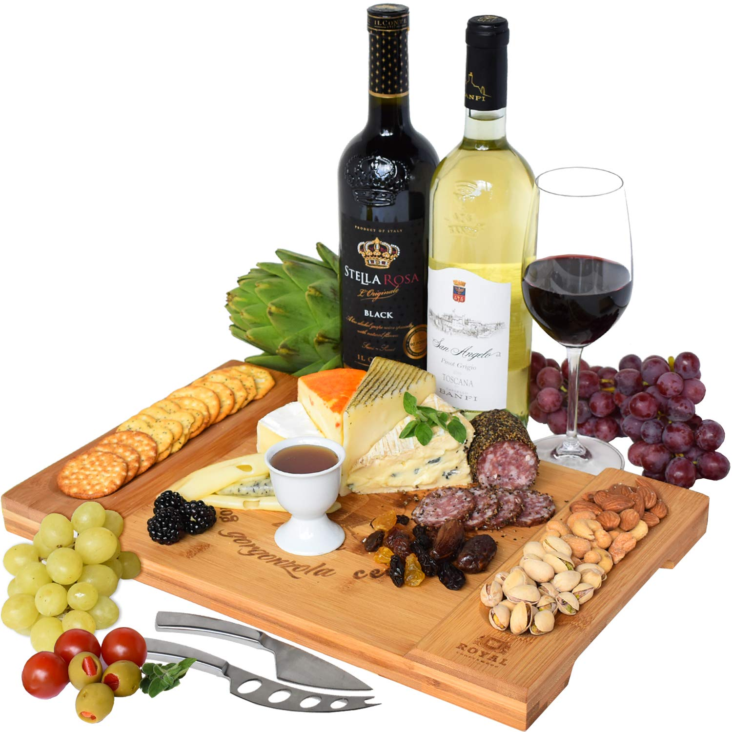 Unique Bamboo Cheese Board Brie and Meat Charcuterie Platter and Serving Tray for Wine Crackers Fancy House Warming Gift /& Perfect Choice for Gourmets Large and Thick Natural Wooden Server