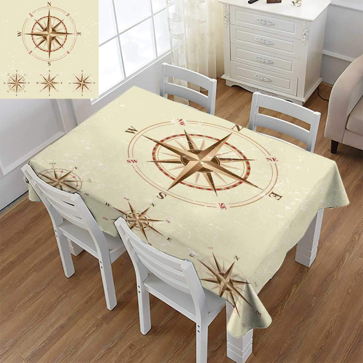 Angoueleven Compass,Dinner Picnic Table Cloth,Four Different Compasses in Retro Colors Discovery Equipment Where Nautical Marine,Waterproof Table Cover for Kitchen,Beige Tan,Size:60''x84''