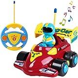 TONOR Coches Teledirigidos con Música y Luces, Radio Control Remoto Coches rc, Tren de Teledirigido Niños, Coches de Racer Teledirigidos para Bebés Niños de 18 Meses+
