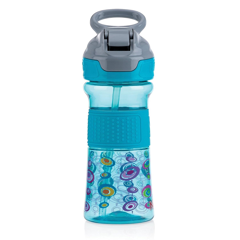 Nuby Thirsty Kids No-Spill Flip-It Reflex w//Soft Grip 12oz Light Blue//Purple