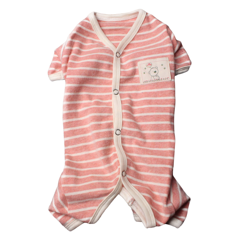 TONY HOBY Female/Male Pet Dog Pajamas Stripes 4 Legged Dog pjs Jumpsuit Soft Cotton Dog Clothes Summer