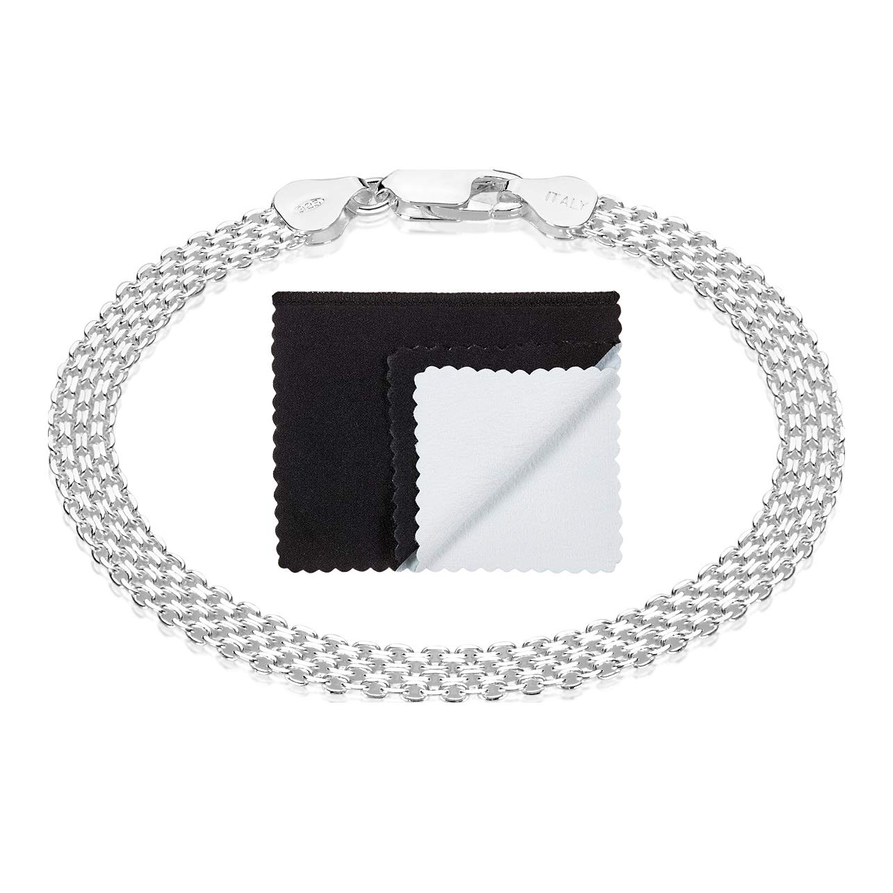 925 Sterling Silver Nickel-Free 5mm Bismark Chain Bracelet Made in Italy, 7'' + Cleaning Cloth