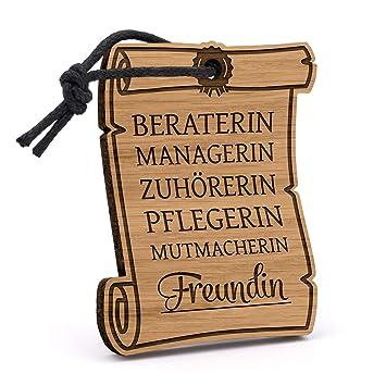 Fashionalarm Schlusselanhanger Freundin Urkunde Aus Holz Mit