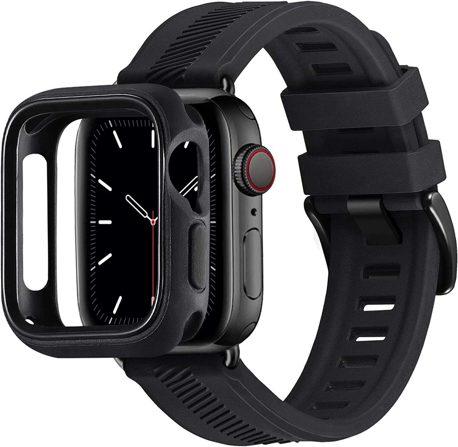 BesBand Compatible with Apple Watch Bands 44mm 42mm 40mm 38mm, Soft Silicone Waterproof Sport Band Loop with Protective Case for iWatch Series 6/5/4/3/2/1&SE (Black/Black, 38mm/40mm)