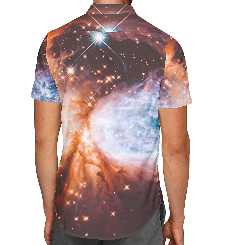 Space Nebula Mens Button Down Short Sleeve Shirt