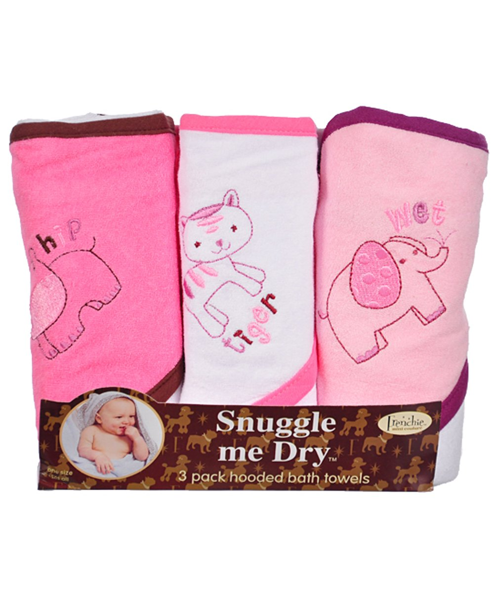 Girls, Wild Animal Design, Hooded Bath Baby Infant Towel Set, 3 Pack Knit Terry, Frenchie Mini Couture 11
