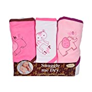 Girls, Wild Animal Design, Hooded Bath Baby Infant Towel Set, 3 Pack Knit Terry