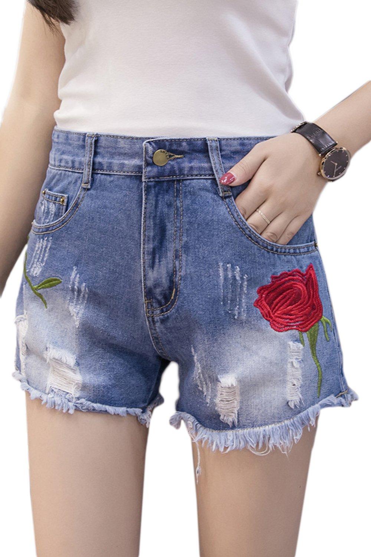 Fanvans Womens Jeans Short Ripped Embroidery Boot Cut Denim Shorts Blue L