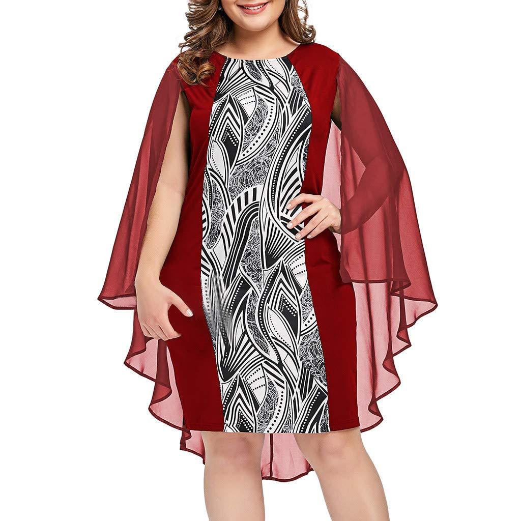 Women Plus Size Dress, LIM&Shop 💛 Summer Casual Mini Dress Chiffon Shirt Mesh Shawl Hem Overlay Blouse Swing Print Top Red