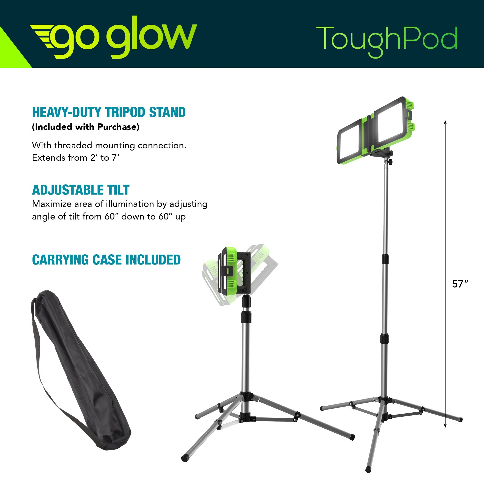 GoGlow LiteBook Bundle - Upgraded 2.0 TRIPOD INCLUDED - 30W Portable Rechargeable Day Light White Light (5000-5500k) Work Light, Camping, Garage or Auto Repair, Emergency (Green) by Enpower (Image #6)