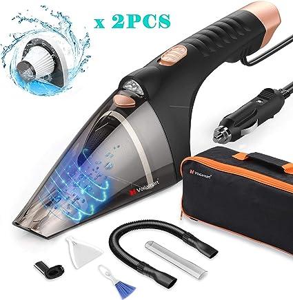 Voilamart Aspiradora de Coche luz LED, 106 W, Aspirador de Mano Portátil para Coche de Secado en húmedo con Fuerte succión y 5M Cable, Bolsa de Transporte, Cepillo de Limpieza: Amazon.es: Coche