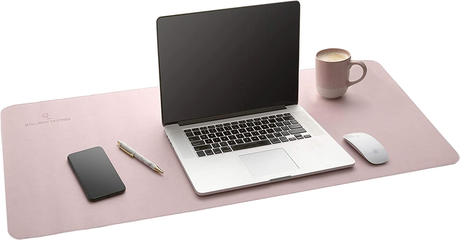 Gallaway Leather Desk Pad - (36 X 17 Inch) Desk Mat Accessories for Women Men Desk Protector Extended Mouse Pad for Office/Home Accessories Writing Pad for Top of Desks (Pink)