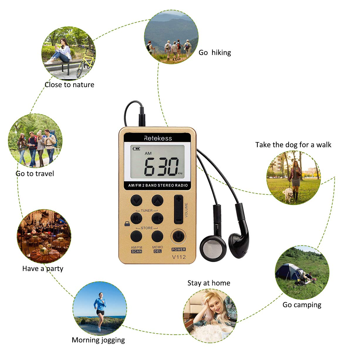 Retekess V-112 AM FM Radio Portable