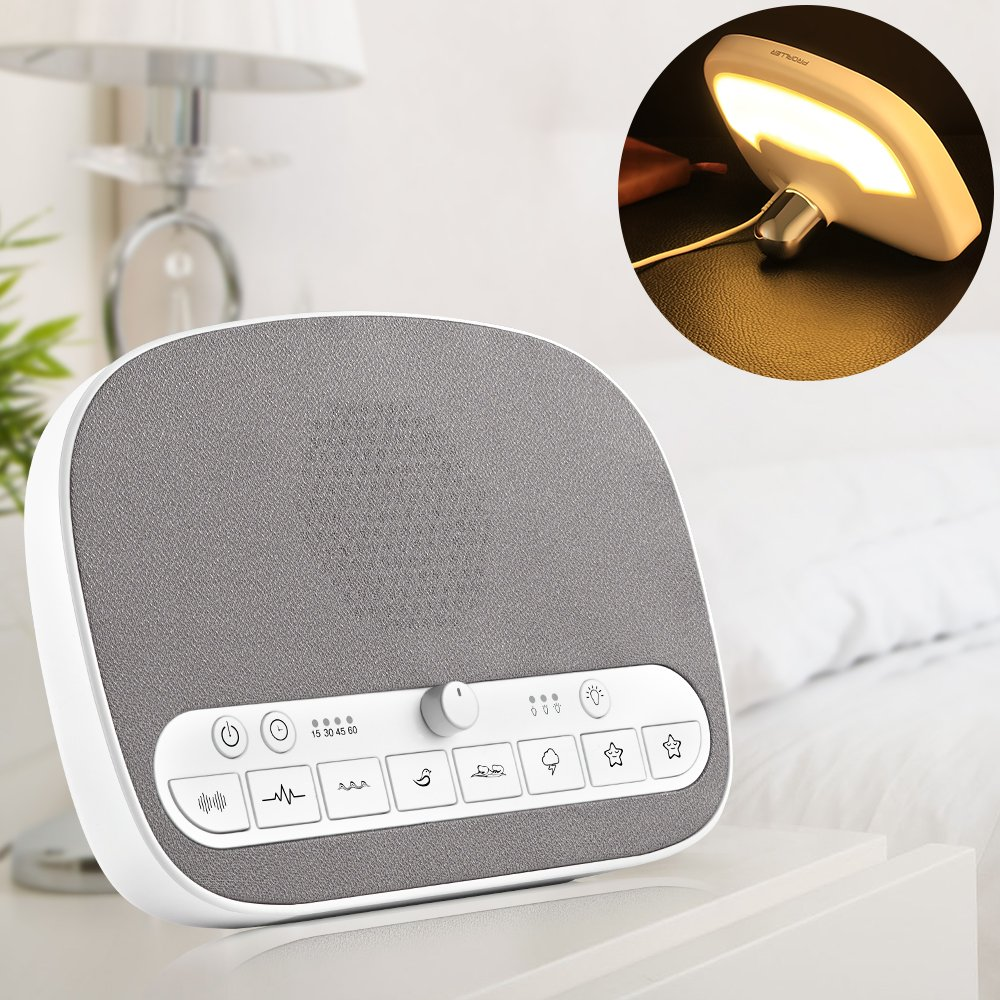 White Noise Machine, Sleep Sound Machine - Night Light - 8 Soothing Natural Sounds for Sleep Therapy, 4 Timer/Non-Stop Mode, USB Output, Memory Function, Relax for Baby, Adult, Traveler, Noise Maker