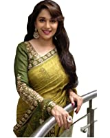 Fabdiamond Women's Cotton Saree (Madhuri Bhaglpurii_Green)