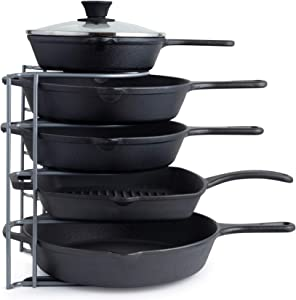 Pan Organizer for Cast Iron Skillets, Griddles and Pots - Heavy Duty Pan Rack - Holds Up to 50 LBS- Horizontal or Vertical Use - Durable Steel Construction - Grey 12.2 Inch - No Assembly Required
