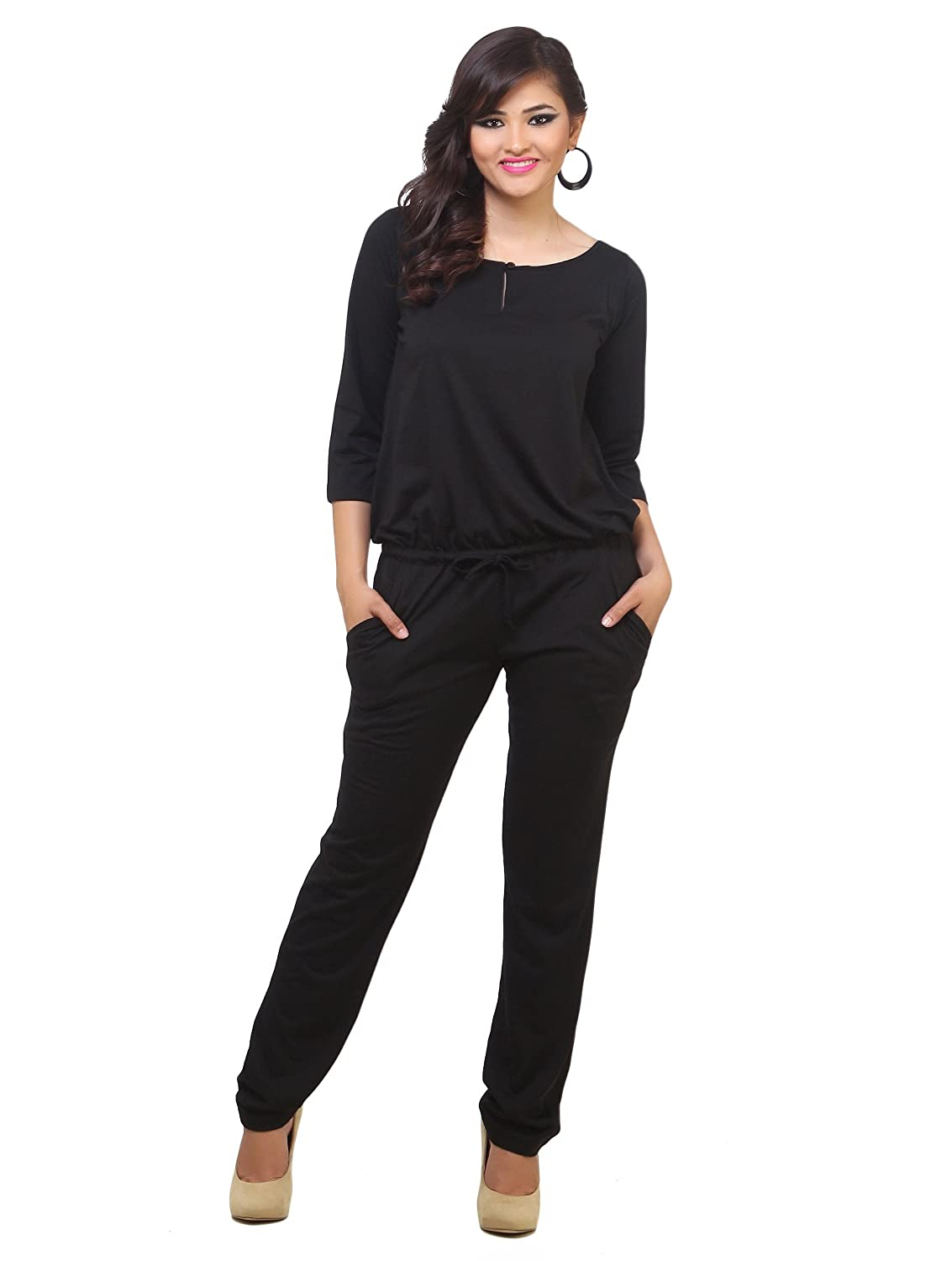 meet details for best sell Buy Cottinfab Women's Rayon Jumpsuit(0_Black_) at Amazon.in
