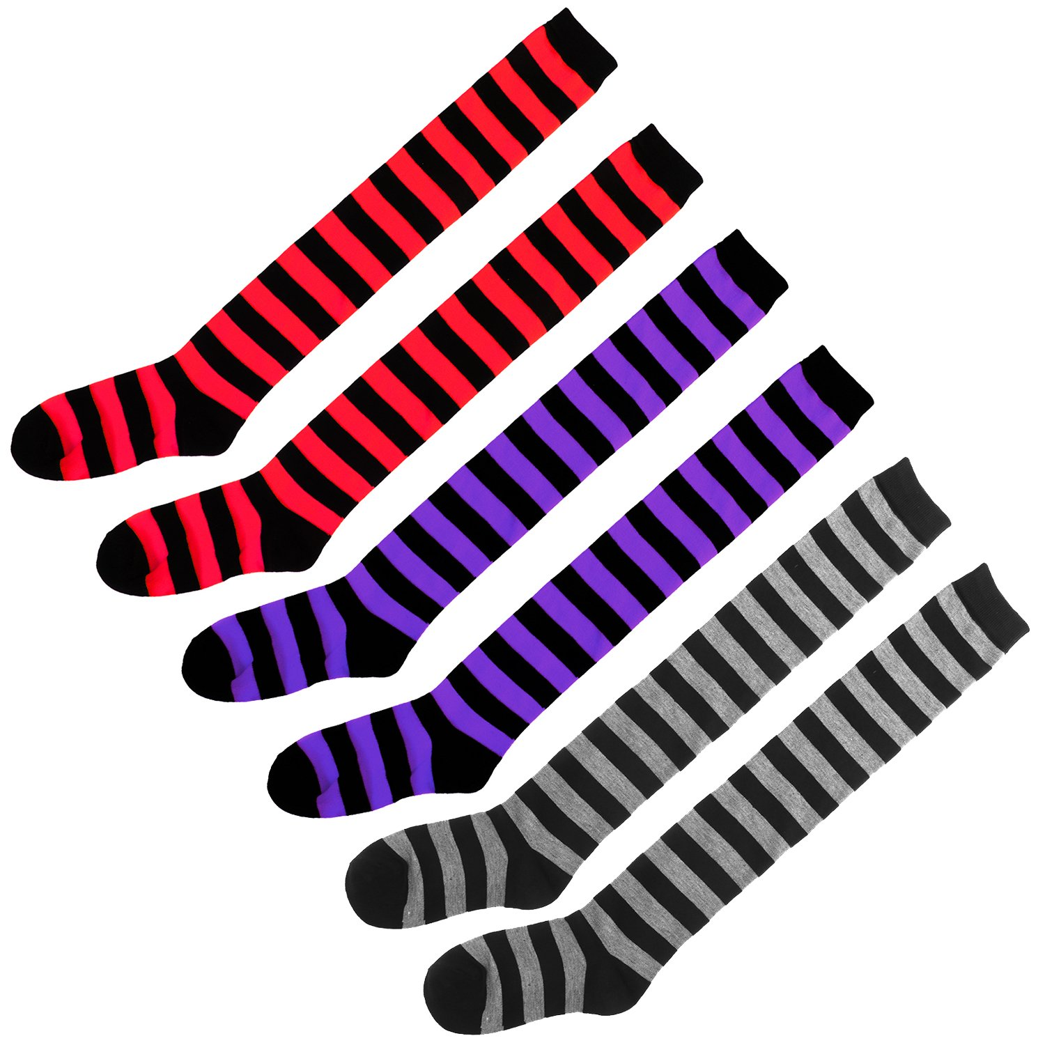 3 Pairs Wide Stripes Womens Extra Long Striped Socks(Over Knee High Opaque Stockings) (Black&Purple Black&Grey Black&Red), OneSize) by eforpretty (Image #3)