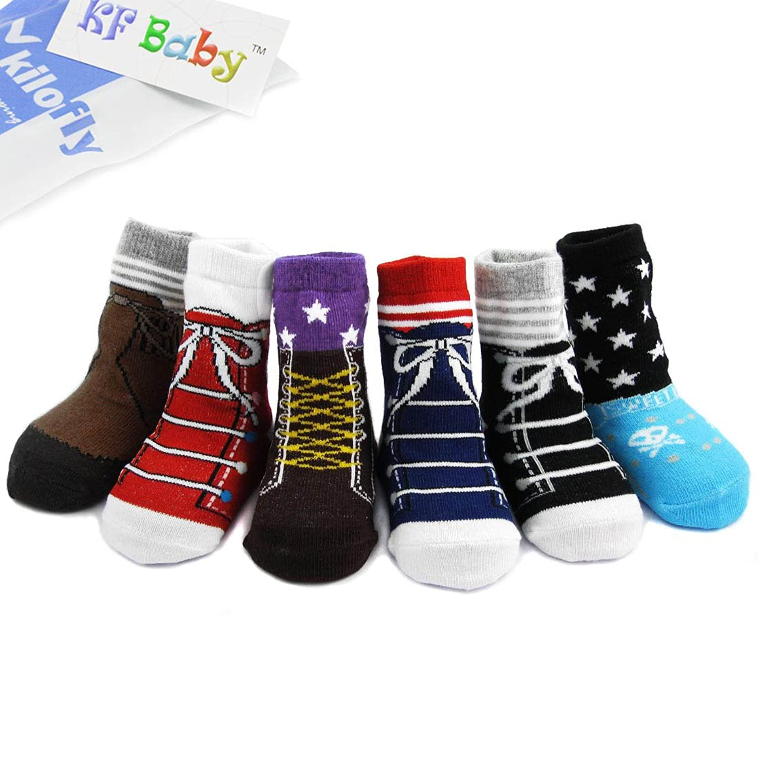 Amazon KF Baby Non Skid Baby Boy Shoe Socks 6 pairs for 12
