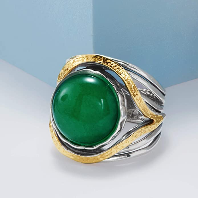 skinny stacking solid sterling silver Emerald Green Chalcedony ring 5mm