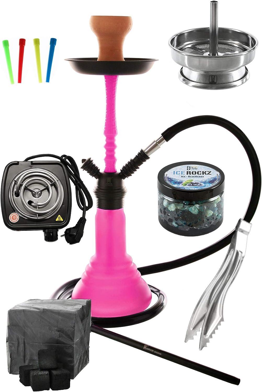 Kaya Neon SPN 480 Set Completo con e-calentador Boquillas desechables Accesorio de chimenea tenazas de carbón (rosa)