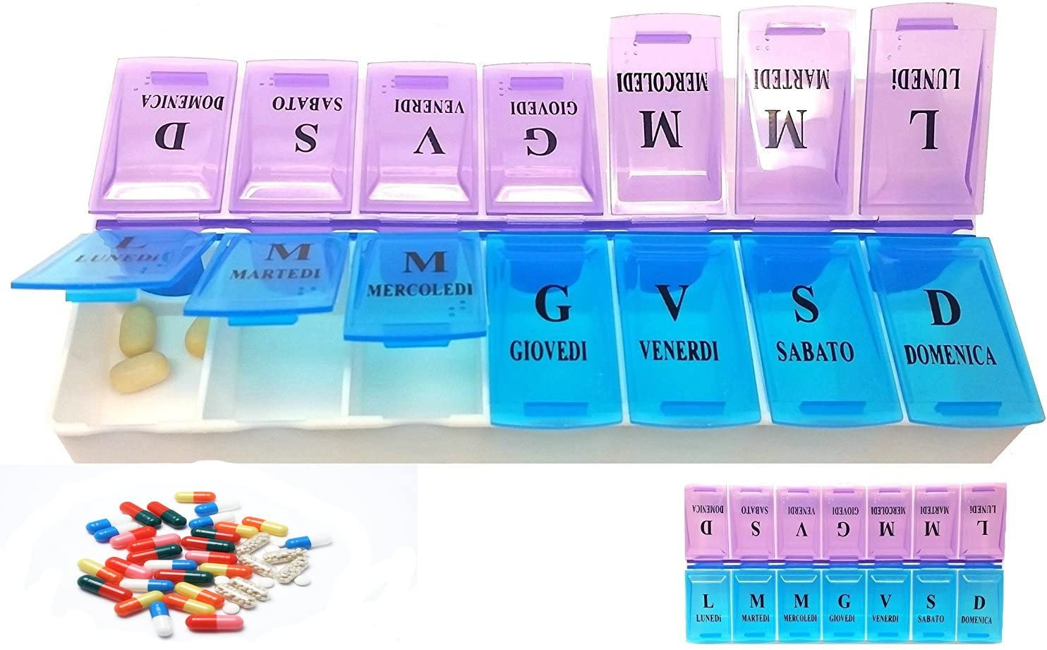 Organizzatore settimanale per pillole Agenda per 7 giorni per pillole extra large e organizer giornaliero per pillole e promemoria medicinali con scomparti dal luned/ì alla domenica