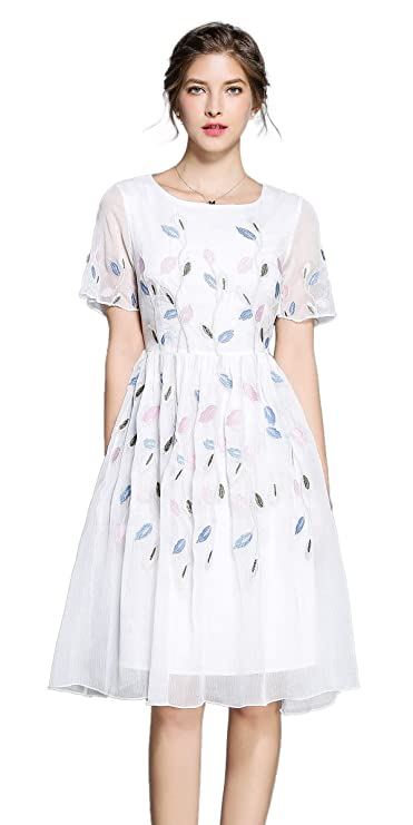 Women's Short Sleeve Mexican Embroidered Floral Pleated Midi A-line Cocktail Dress (S, White 4)