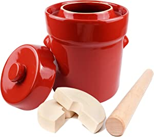 Fermentation Crock Jar 5 Liter - Stoneware Pot for Fermenting,Pickling Kimchi, Sauerkraut, Pickles, Vegetables, Kombucha - 1.3 Gallon Glazed Ceramic Fermenter with Weights, Lid