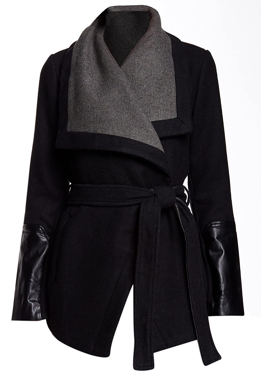 dbd8060ac3f19 well-wreapped BCBGeneration Black Grey Wool Wrap Coat - mgmpmi.com