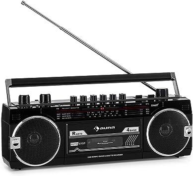 Auna Duke MKII Radiocasete - Bluetooth , Codificación Directa del Cassette al USB/SD , 4 Bandas de Radio: FM, MW, SW1, SW2 , Antena telescópica , USB ...