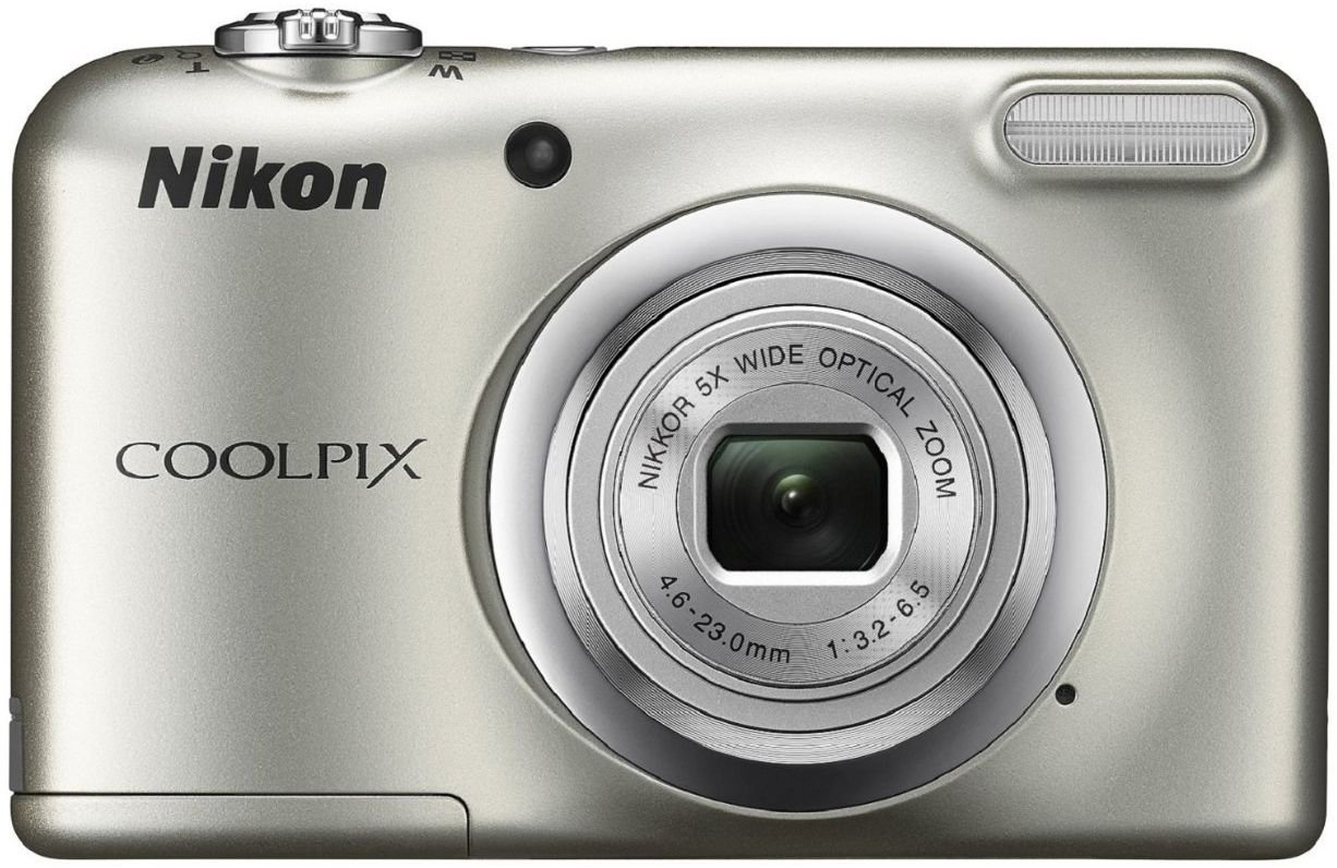 Nikon Coolpix A10 Point and Shoot Digital Camera (Silver) with Memory Card and Camera Case
