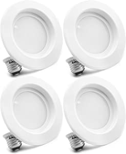 """4-Pack Bioluz LED 6"""" BRIGHTEST RETROFIT (120 Watt Replacement) WARM WHITE UL-listed Dimmable Retrofit LED Recessed Lighting Fixture - 2700K Warm White LED Ceiling Light - 1200 Lumen Recessed Downlight"""