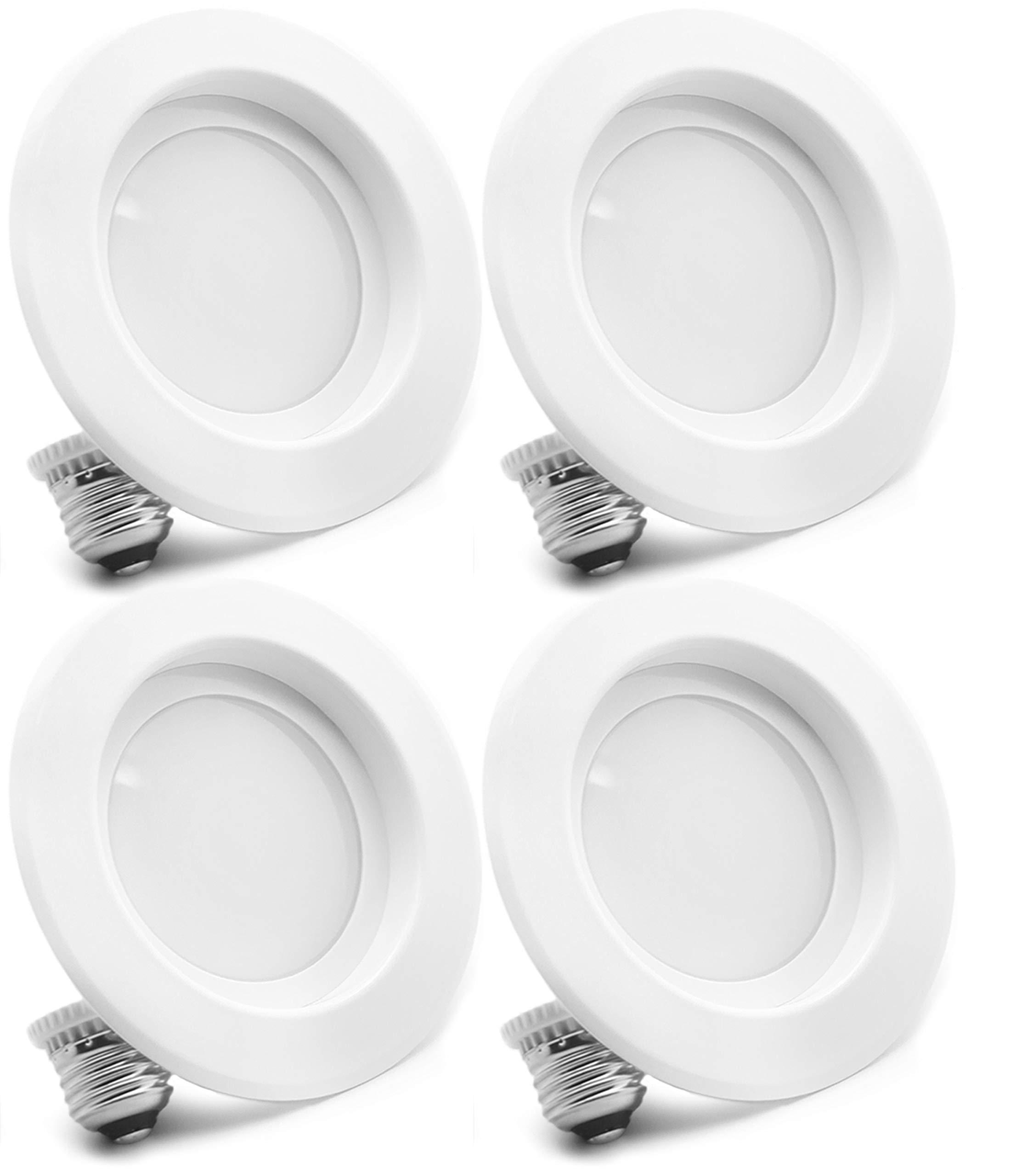4 Pack Bioluz LED 4-inch 13 Watt 90 CRI Dimmable LED Retrofit Recessed Lighting Fixture - 2700K LED Ceiling Light - 910 Lumen Recessed Downlight UL-listed JA8 CEC