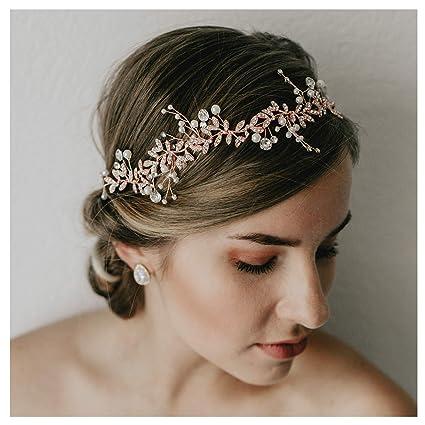 ottenere a buon mercato vari design di alta qualità SWEETV Cristallo Copricapo da Sposa Oro Rosa Nuziale Cerchietti ...