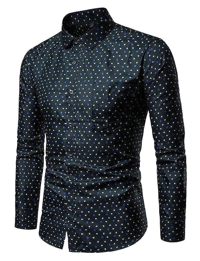 Fubotevic Mens Casual Slim Long Sleeve Lapel Neck Print Button Up Dress Shirt